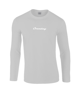 Mens light grey Orontay series 2 vegan sportswear long sleeve top with Orontay text logo