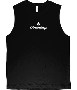 Mens black Orontay series 2 vegan sportswear tank top with Orontay duo logo