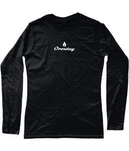 Womens black Orontay series 2 vegan sportswear long sleeve top with Orontay duo logo