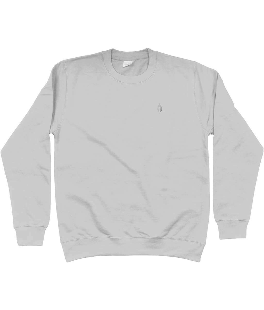 Unisex light grey Orontay series 2 vegan sportswear jumper with Orontay sprite logo