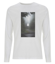 Load image into Gallery viewer, Mens white Orontay series 2 vegan sportswear long sleeve top with forest image