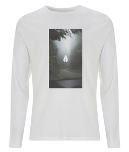 Mens white Orontay series 2 vegan sportswear long sleeve top with forest image