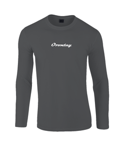 Mens black Orontay series 2 vegan sportswear long sleeve top with Orontay text logo