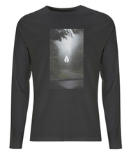 Load image into Gallery viewer, Mens black Orontay series 2 vegan sportswear long sleeve top with forest image