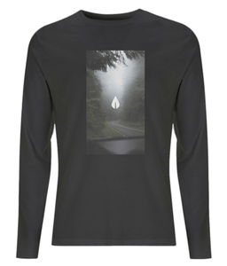 Mens black Orontay series 2 vegan sportswear long sleeve top with forest image