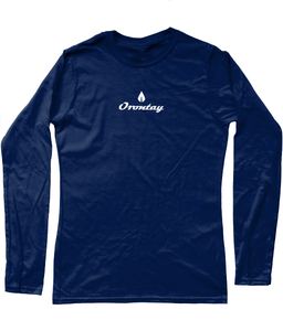 Womens navy Orontay series 2 vegan sportswear long sleeve top with Orontay duo logo