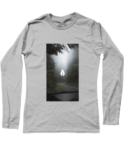 Womens light grey Orontay series 2 vegan sportswear long sleeve top with forest image