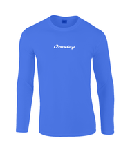 Load image into Gallery viewer, Mens light light blue Orontay series 2 vegan sportswear long sleeve top with Orontay text logo