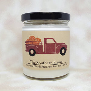 Little Red Truck Pumpkin Candle | Personalized Candles | Fall Home Decor