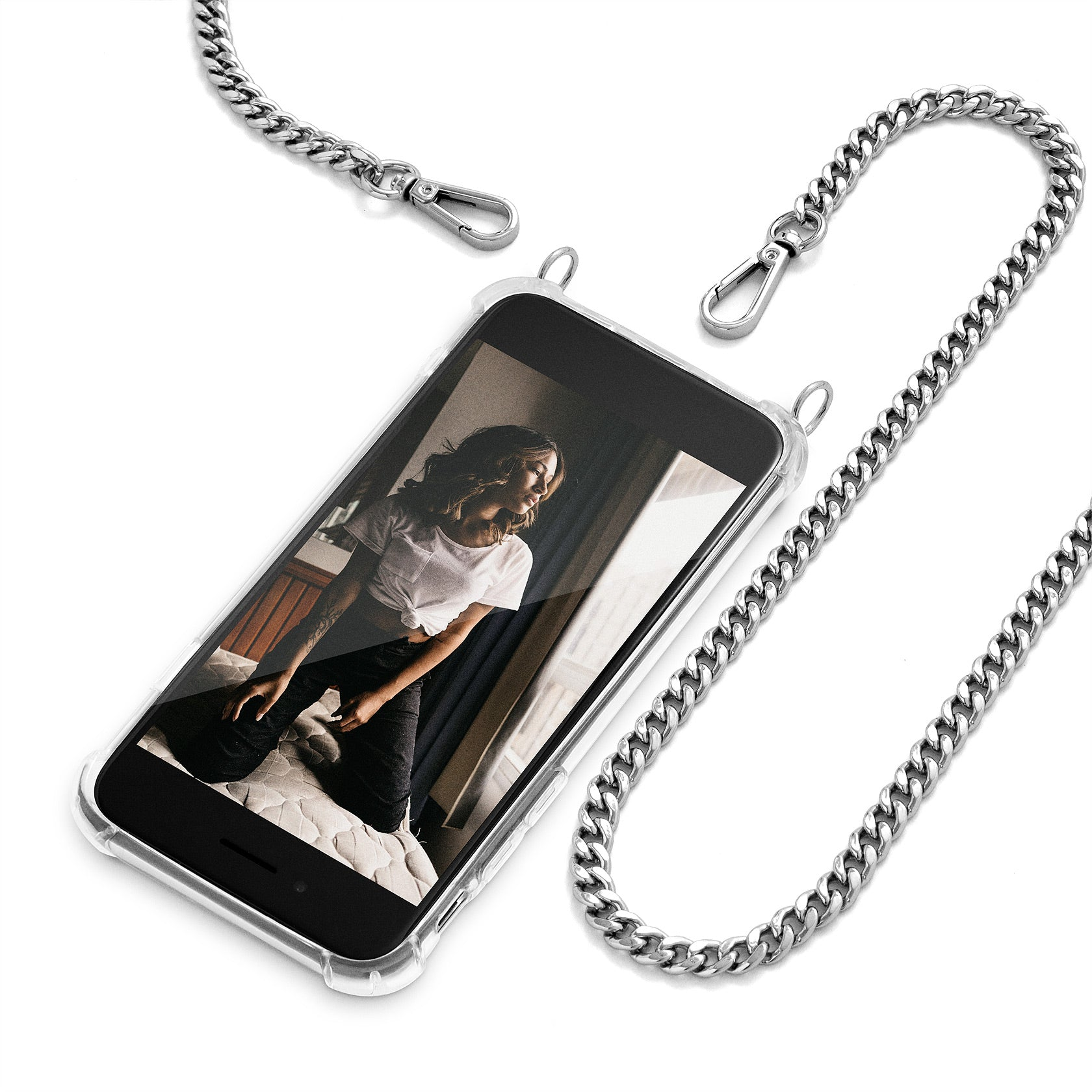 Cross Body Phone Case Necklace | N°5 GLAM SILVER | Cicerly