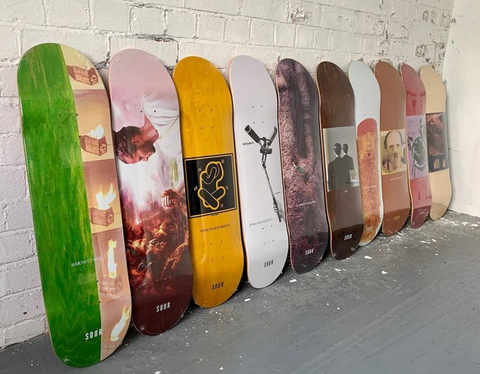 Sour Skateboard Decks Lined up In the Rock Solid Wearhouse
