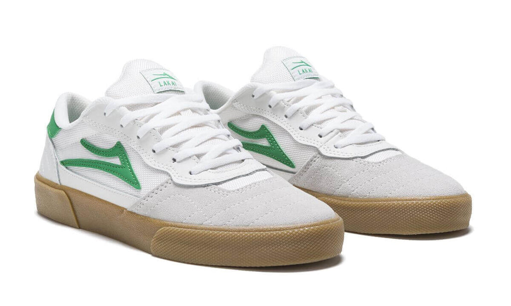 Lakai Cambridge White & Green Suede Skate Shoes