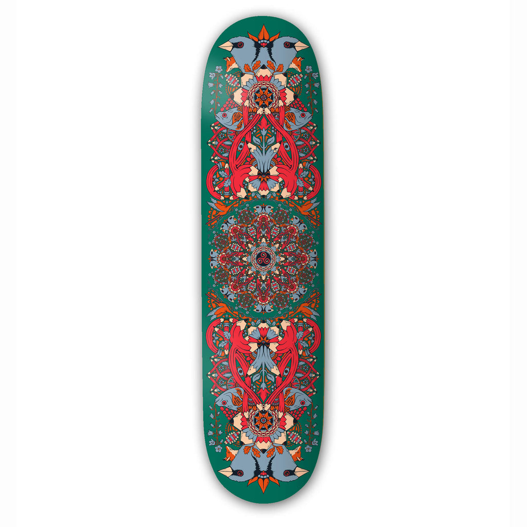 Drawing Boards Green Mandala Skateboard Deck 8.25""