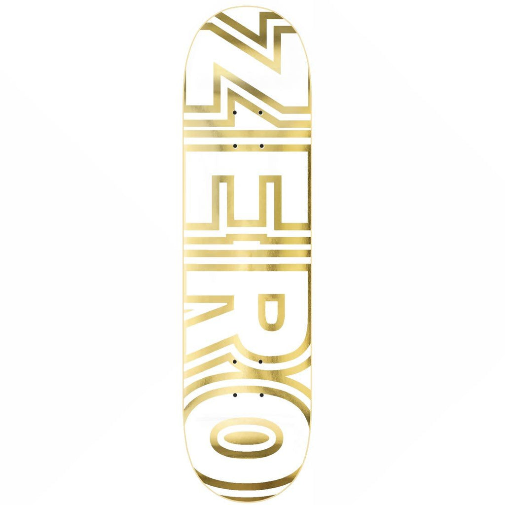 "Zero Skateboards White and Gold Bold 8.25"" Skateboard Deck"