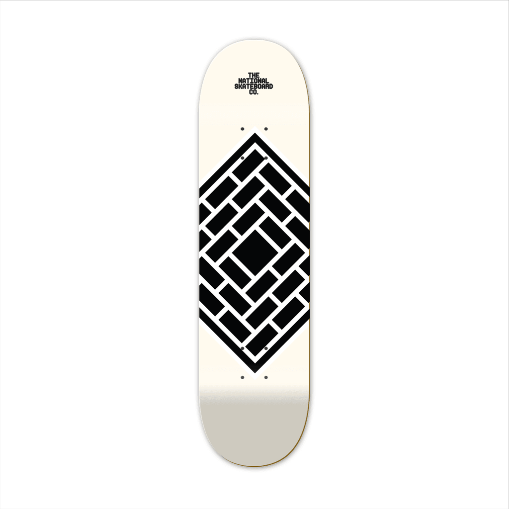 "The National Skateboard Co. Classic Cream 8.00"" High Concave Deck - North Street Skate"