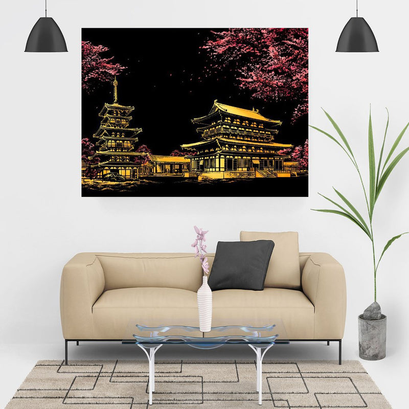 Scratch Painting -  Cherry Blossom Japan