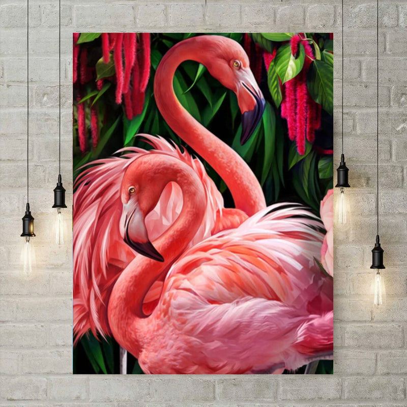 5D Diamond Painting - Flamingo's in het groen