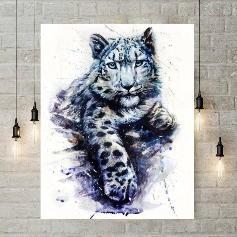 5D Diamond Painting - Aquarel Blauwe Tijger