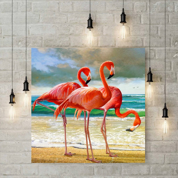 5D Diamond Painting -  Flamingos op het strand