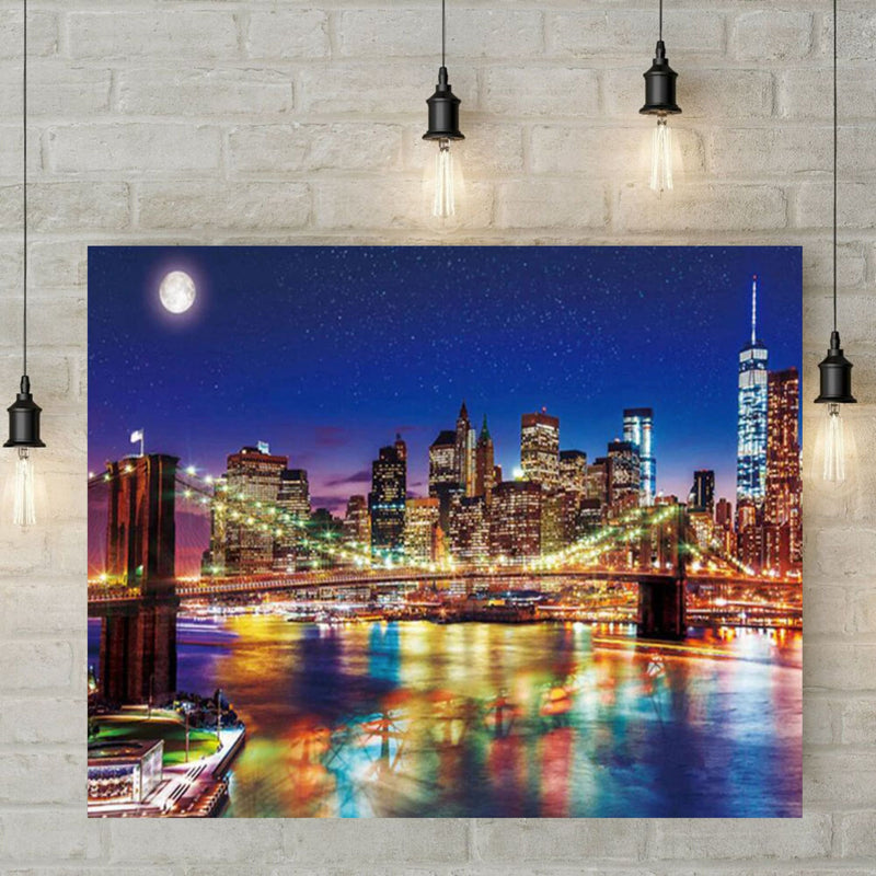 5D Diamond Painting - New Yorkse nachtbrug