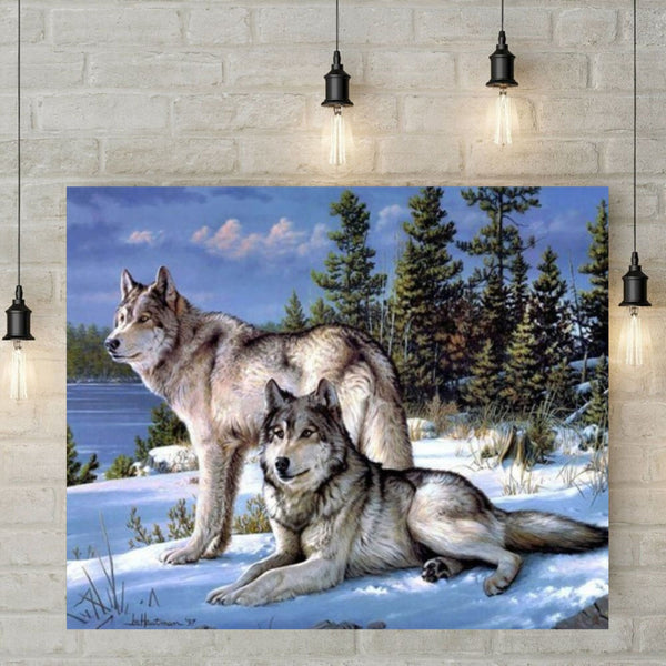 5D Diamond Painting - Wolven in de sneeuw