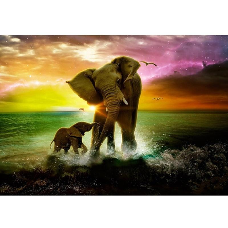 5D Diamond Painting - Olifant en Baby