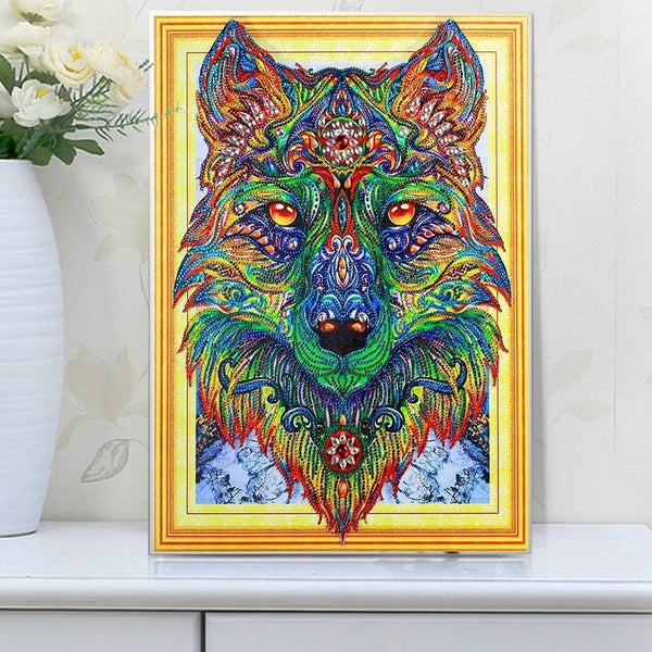 5D Diamond Painting met parels - De God's Wolf