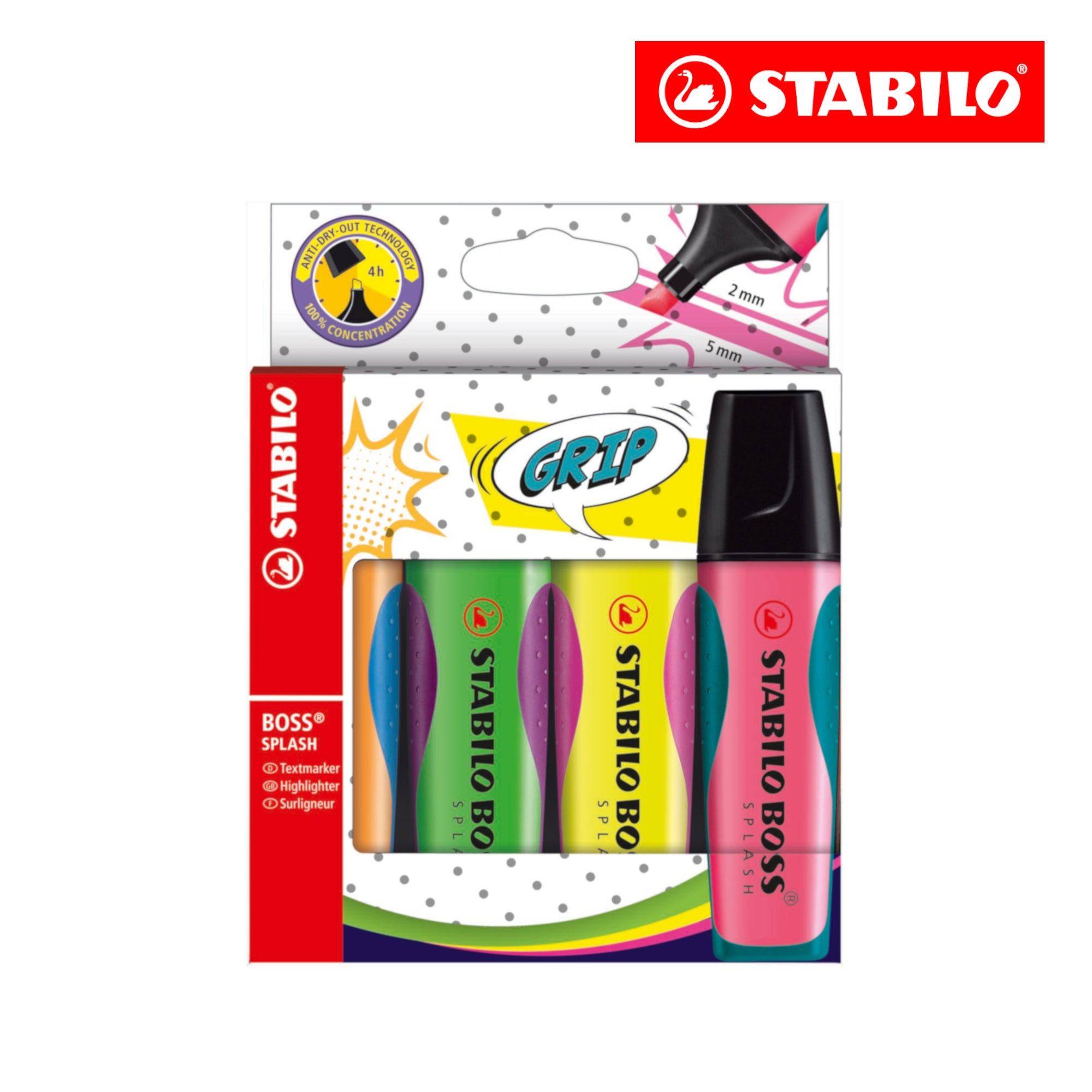 STABILO BOSS SPLASH Highlighter (Set of 4 colours) - Schwan-STABILO -Most colourful Stationery Shop