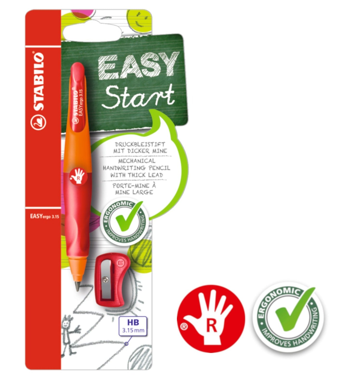 STABILO EASYergo 3.15mm Ergonomic Mechanical Pencil (Right-Hander)
