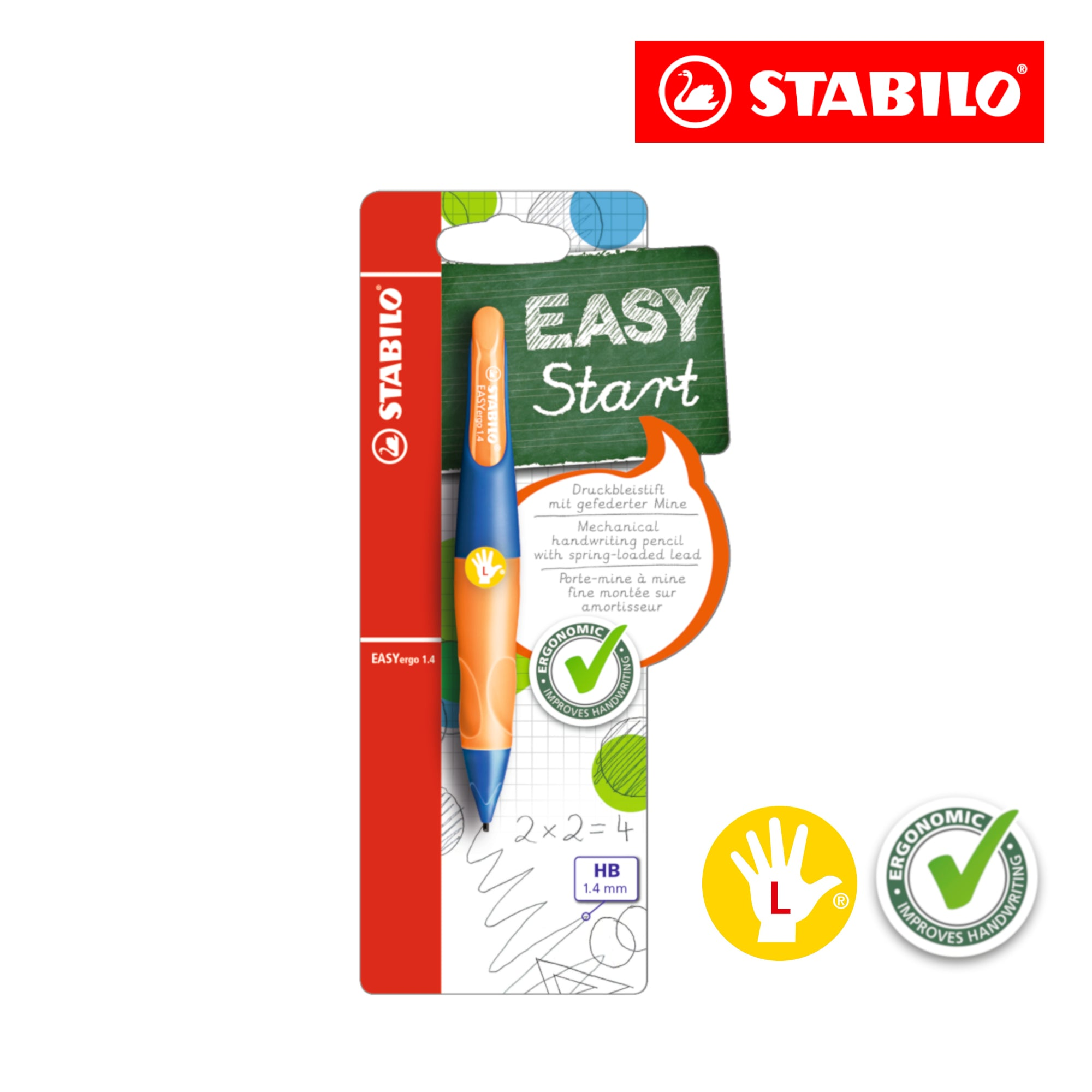 STABILO EASYergo 1.4mm Ergonomic Mechanical Pencil (Left-Hander) - Schwan-STABILO -Most colourful Stationery Shop