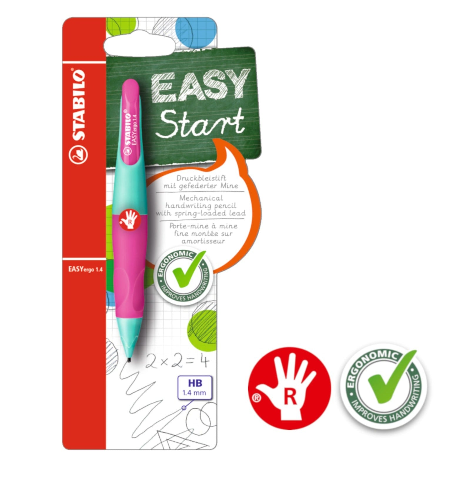 STABILO EASYergo 1.4mm Ergonomic Mechanical Pencil (Right-Hander)
