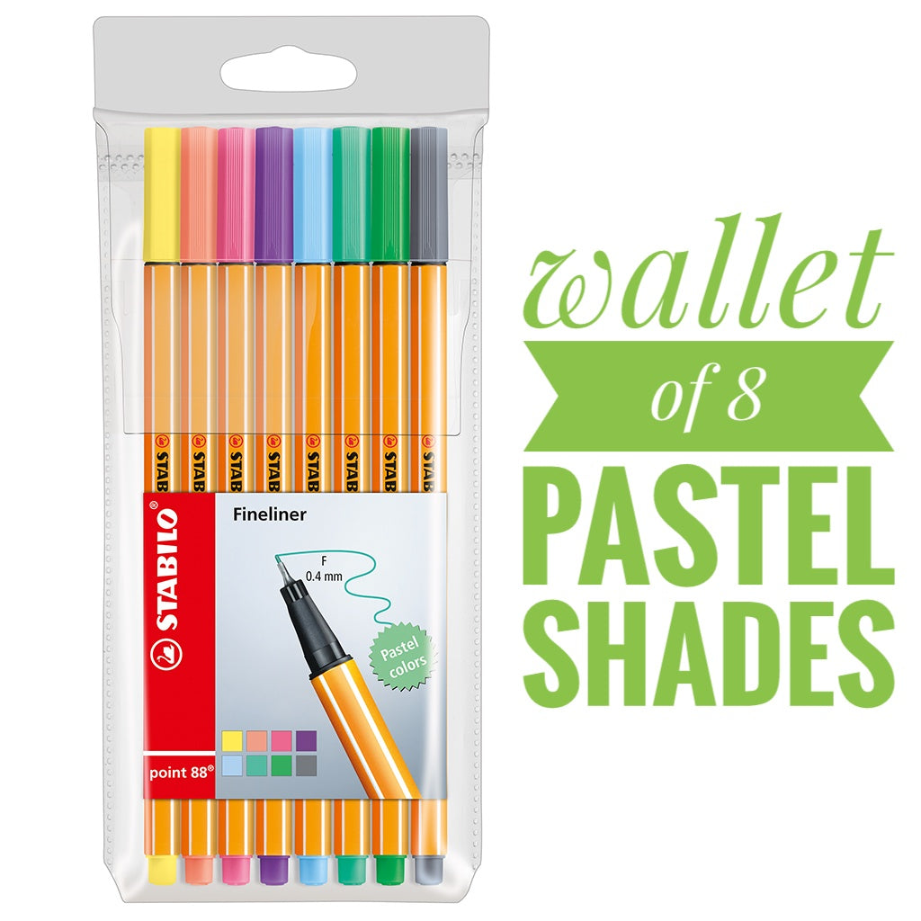 STABILO point88 Pastel Fineliners - Wallet of 8 colours <NEW ARRIVAL!> Thumbnail