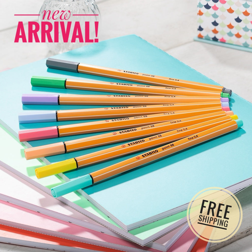 STABILO point88 Pastel Fineliners - Wallet of 8 colours <NEW ARRIVAL!> - Schwan-STABILO -Most colourful Stationery Shop