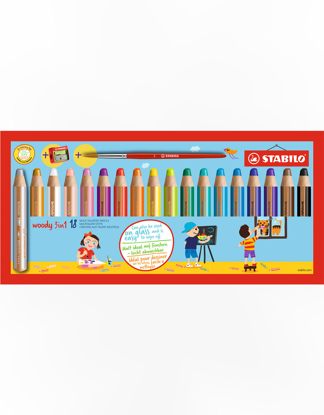 STABILO Woody 3 In 1 Color Pencil, Watercolor And Wax Crayon