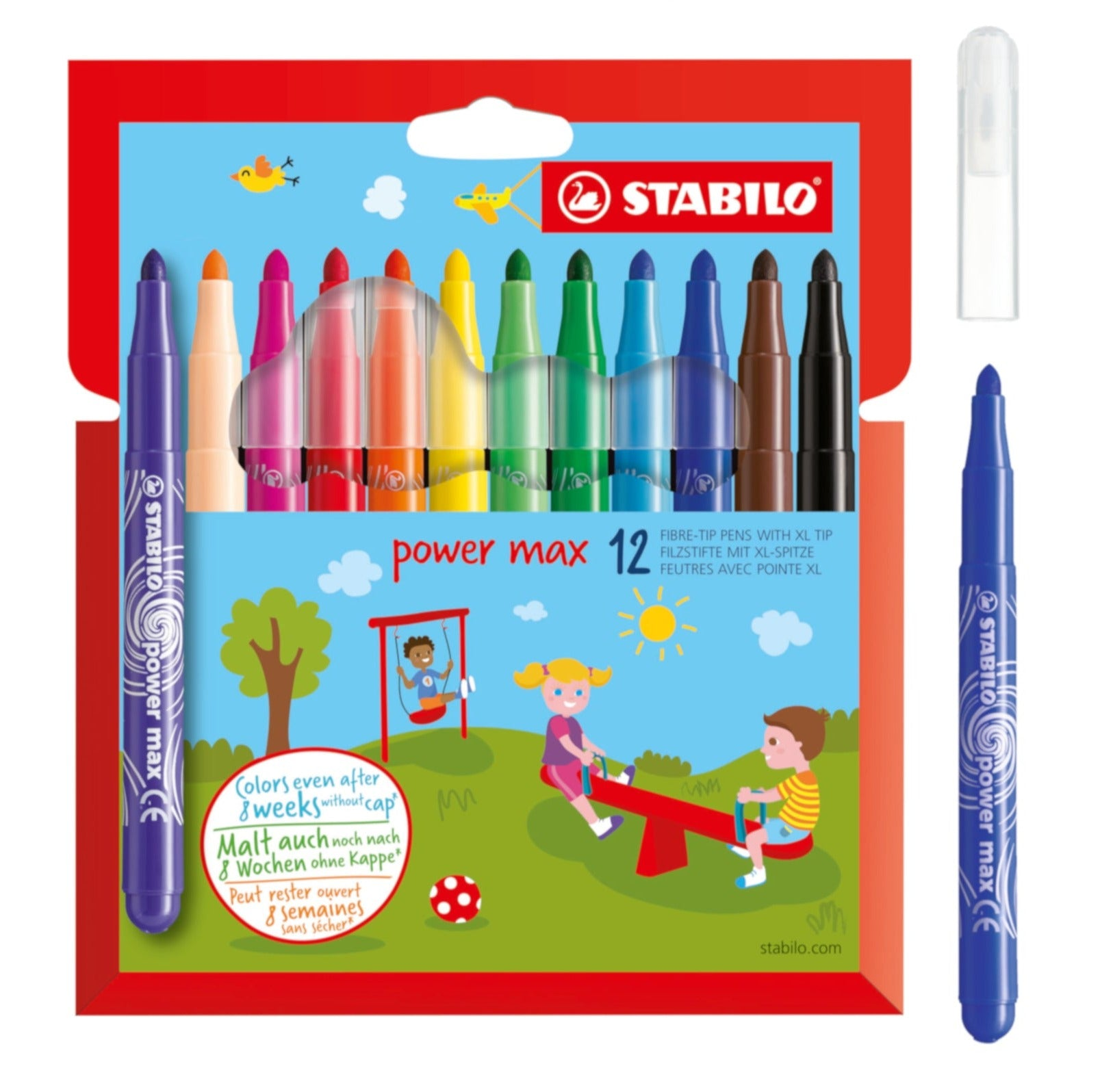 STABILO Power Max Extra-Thick Fibre-Tip Pen - Set of 12 colours