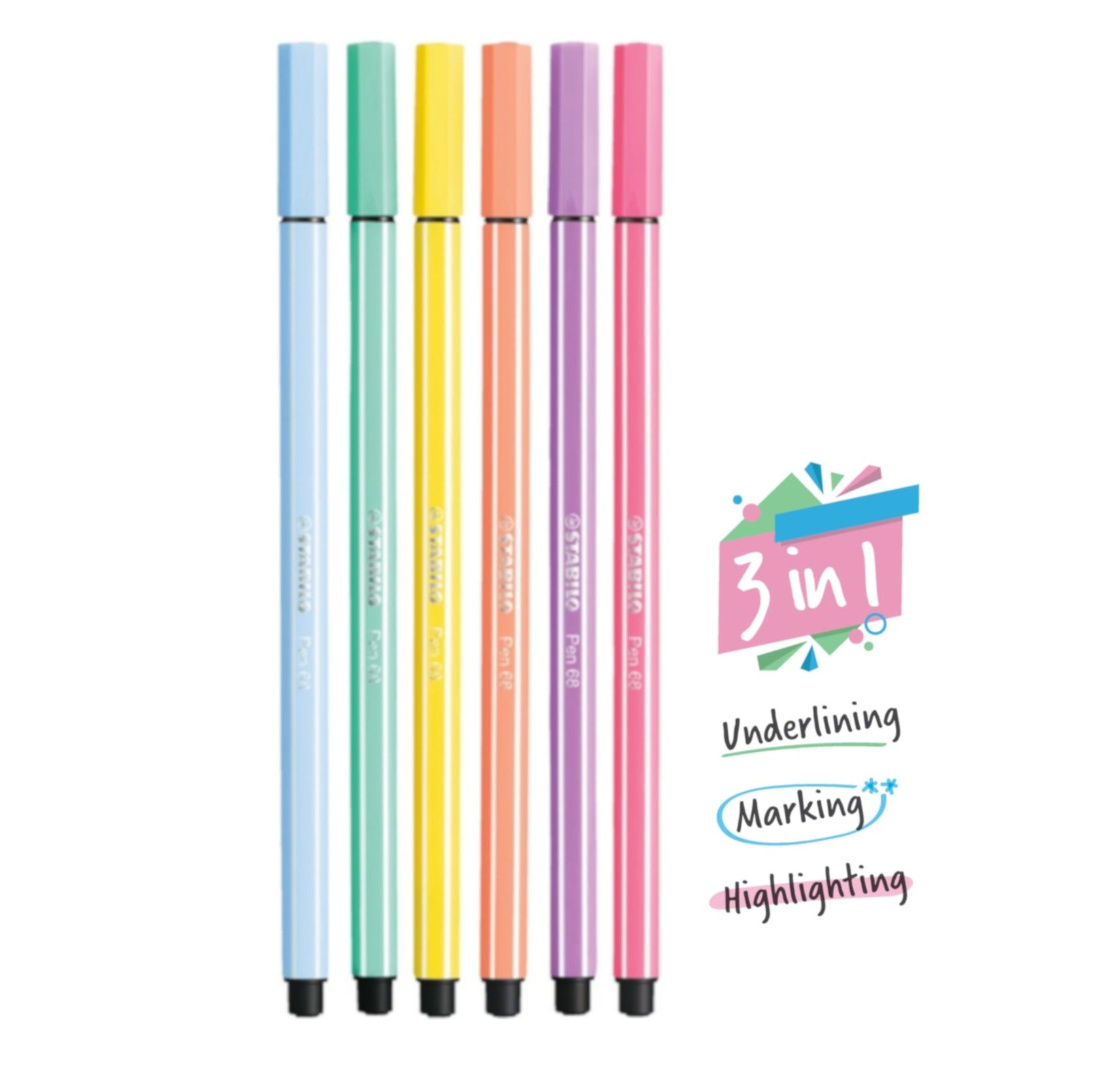 STABILO Pen 68 Marking Highlighter Pen And Text Markers - Pastel