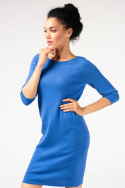 Women's Cashmere Boat Neck Dress Ultra Marine - Gobi Cashmere