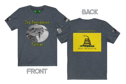 2nd Amendment (2A) Patriot. United and free, don't tread on me. Short Sleeve T-Shirt - Warwares Military Shirts and More