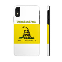 "Load image into Gallery viewer, Gadsden ""Don't tread on me"" Tough Phone Cases.  United and Free. - Warwares Military Shirts and More"