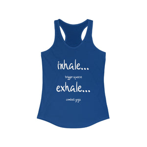 Women's Combat Yoga Tank, White Lettering - Warwares Military Shirts and More