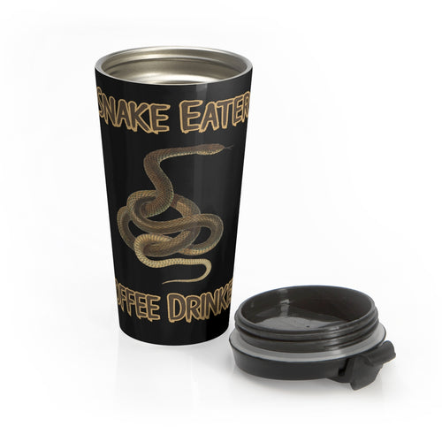 Snake Eater, Coffee Drinker. Spill-proof Stainless Steel Travel Mug - Warwares Military Shirts and More