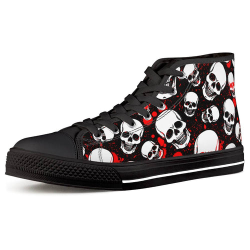 Blood and Skull - Black High Top Canvas Shoes - Warwares Military Shirts and More