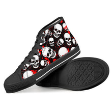 Load image into Gallery viewer, Blood and Skull - Black High Top Canvas Shoes - Warwares Military Shirts and More