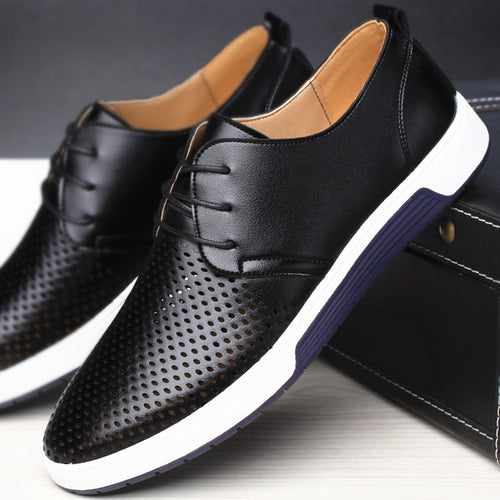 Men's Casual Breathable Leather Shoes - Stylish Comfort - Warwares Military Shirts and More