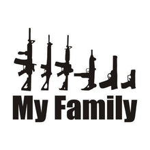 "Load image into Gallery viewer, ""Family"" Weapons Sticker - Warwares Military Shirts and More"