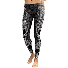 Load image into Gallery viewer, Skull Head Leggings with Subdued Camouflage Print - Warwares Military Shirts and More