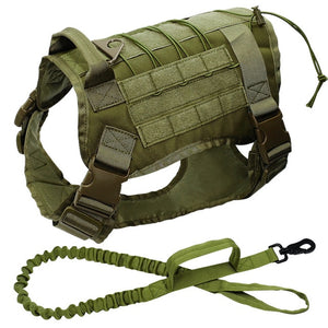Military Tactical Dog Harness w/ Bungee Leash, medium-large K9s, Molle - Warwares Military Shirts and More