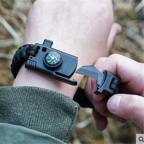 Military 4 in 1 Bracelet: Compass, Knife, Whistle, and Paracord - Warwares Military Shirts and More
