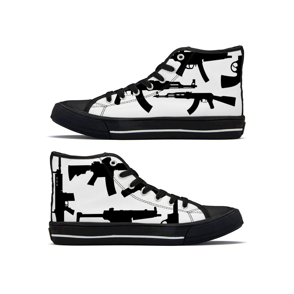 Gun Collage - High Top Canvas Shoe - Black and White - Warwares Military Shirts and More