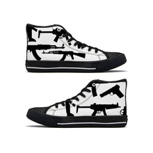 Load image into Gallery viewer, Gun Collage - High Top Canvas Shoe - Black and White - Warwares Military Shirts and More